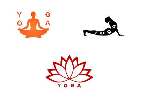 poses: Vector illustration of a three yoga set