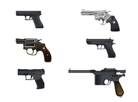 pistols: Vector illustration of a six pistols set