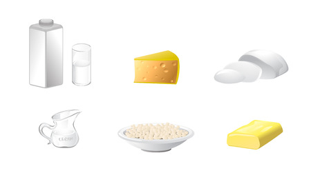 dairy products: Vector illustration of a six dairy products Illustration