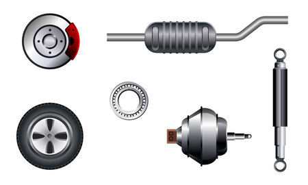 tire change: Vector illustration of a six auto parts set