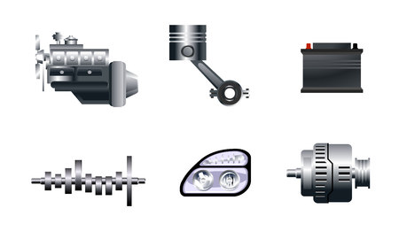 spare: Vector illustration of a six auto spare parts
