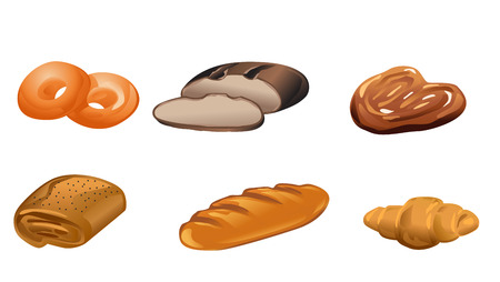 puff pastry: Vector illustration of a six bakery products Illustration