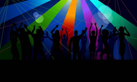 crowd happy people: Vector illustration image of a crowd dancing in club