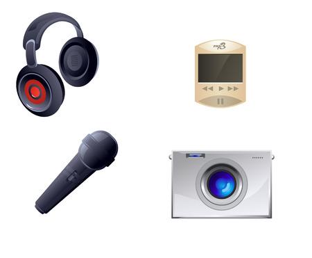 gadget: Vector illustration of a four gadget set