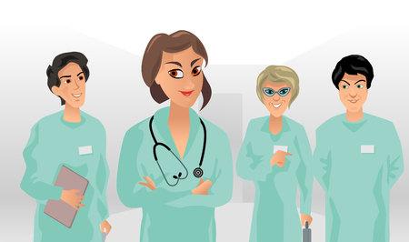 medical team: Vector illustration of a small medical team