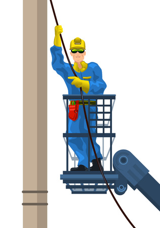 linemen: Vector illustration of a electrician mounts wire
