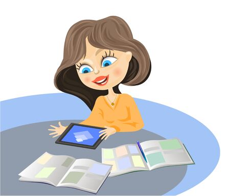 illustration of a girl with the tablet