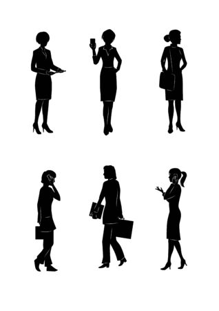 six point: illustration silhouettes of businesswoman on the white background