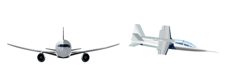 Vector illustration of a two modern aircraft