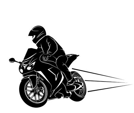 Vector illustration of a biker on a sportbike.