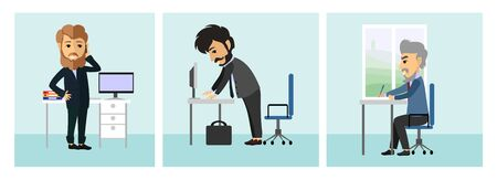 ollection: Vector illustration of a hipster in the office set.