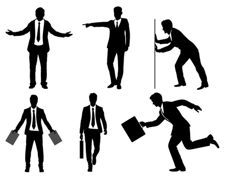 six point: Vector illustration of a six businessmen silhouette
