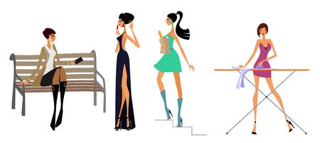 telephone cartoon: Vector illustration of a four modern girls