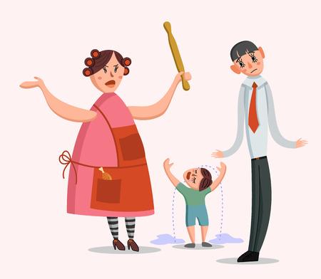 Vector illustration of a big family quarrel