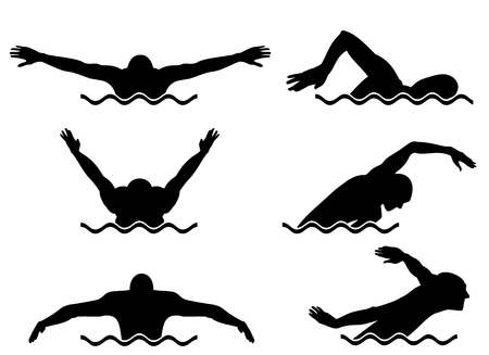 Vector illustration of a six swimmers set