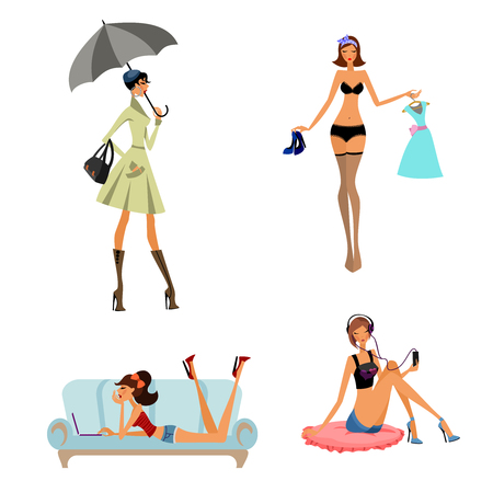 Vector illustration of a four modern girls