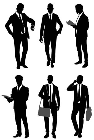 vector illustration of six businessmen set