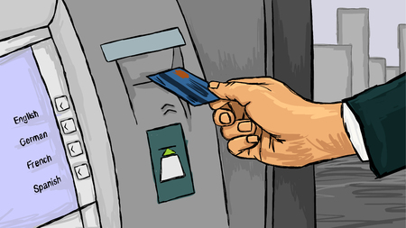 Vector illustration of a hand with credit card Ilustracja