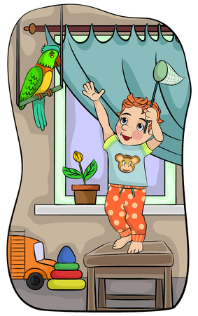 Vector illustration of a boy with parrot