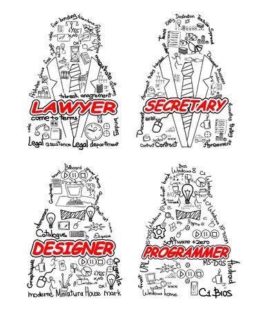 Vector illustration of a four professionals set Ilustracja