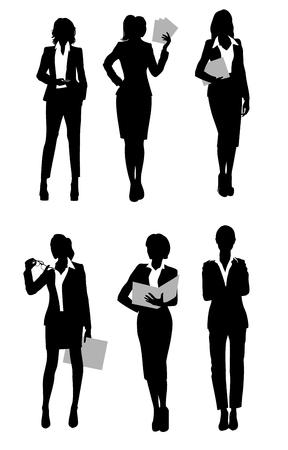 Vector illustration of a six businesswomen silhouette Ilustracja