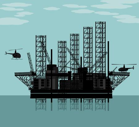 Vector illustration of a big oil platform