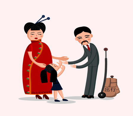 Vector illustration of a happy chinese family