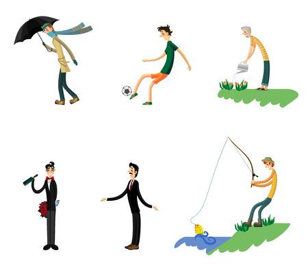 Vector illustration of a six men set