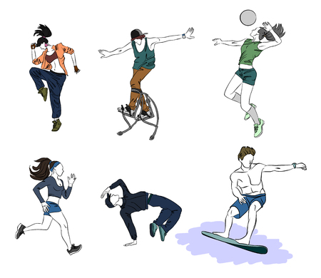 Vector illustration of a six teenagers silhouettes