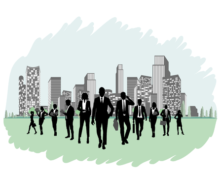 Vector illustration of business team silhouette