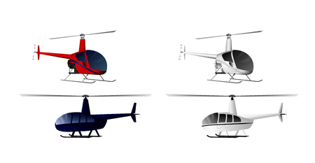 Vector illustration of a four helicopters set