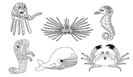 Vector illustration of a six marine inhabitants on the white Ilustracja