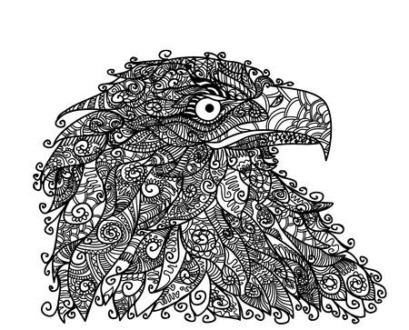 Vector illustration of eagle head on the white Ilustracja