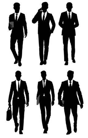 Vector illustration of a six businessmen silhouettes on the white Ilustracja