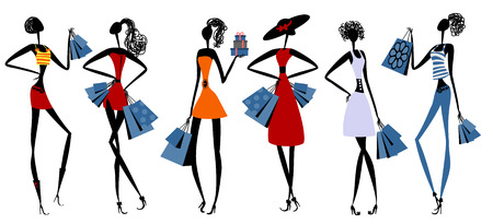 Vector illustration of a fashion girls with shopping