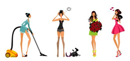 Vector illustration of a modern girls set Ilustracja