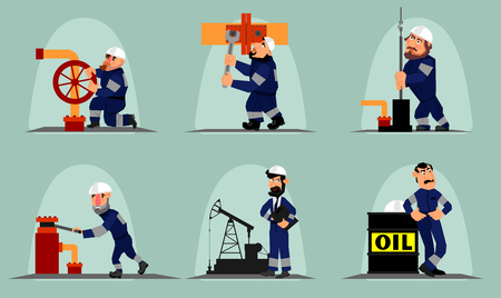 Vector illustration of a six oil workers
