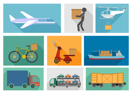 Vector illustration of the nine types of delivery