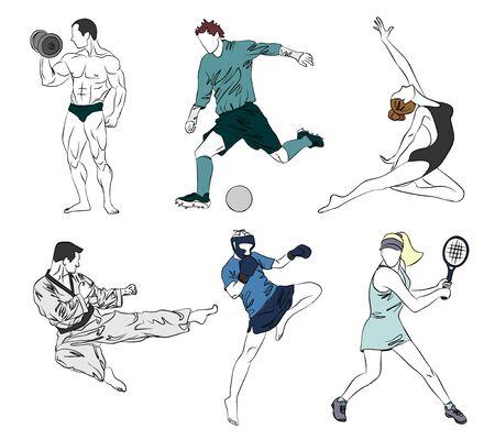 Vector illustration of a set of six sports Illustration