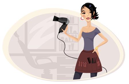 barber: Vector illustration of a girl hairdresser in the workplace Illustration