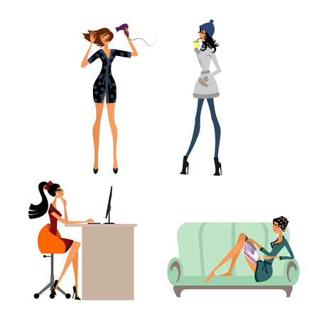 Vector illustration of a modern girls in situations set