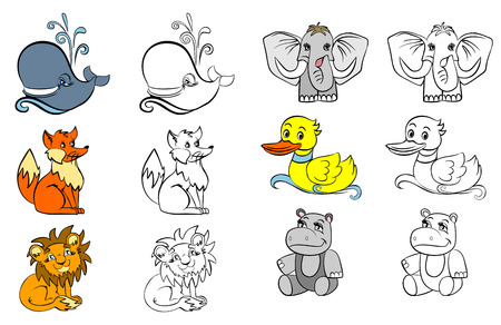 Vector illustration of a coloring with animals