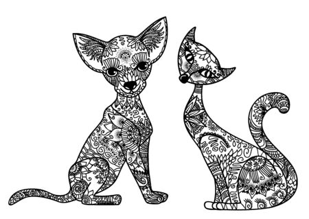 Vector illustration of a dog and cat