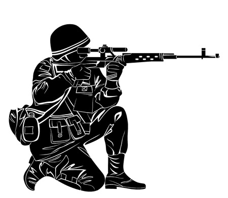 Vector illustration of a soldier shooting from the gun