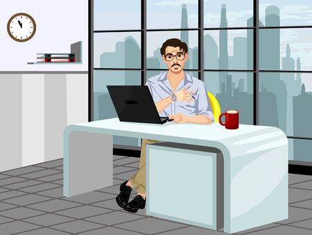 Vector illustration of a fashionable guy in the workplace Ilustracja