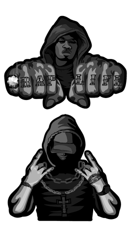 Vector illustration of two rappers on white