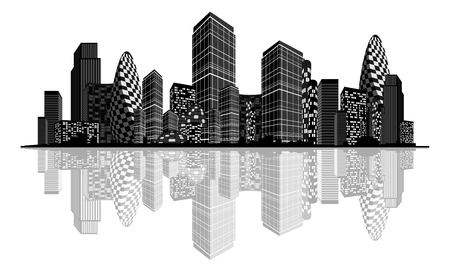 Vector illustration of an abstract city silhouette Ilustracja