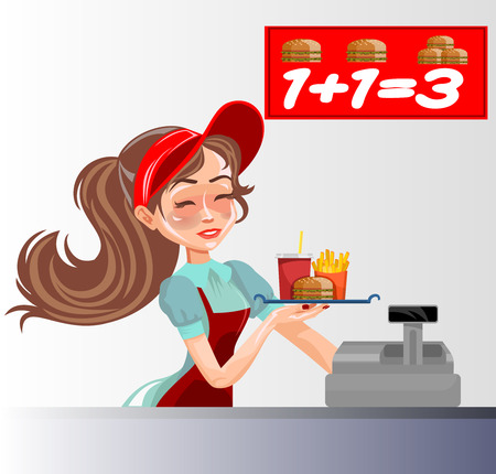 selling service: Vector illustration of a fast food seller