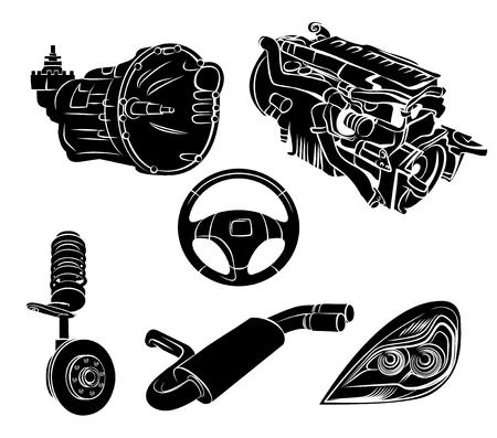Ilustración de vector de un conjunto de coche de piezas