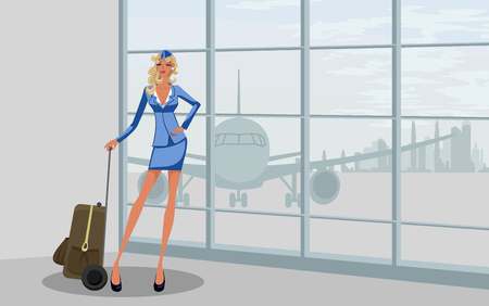 Vector illustration of a stewardess at the airport